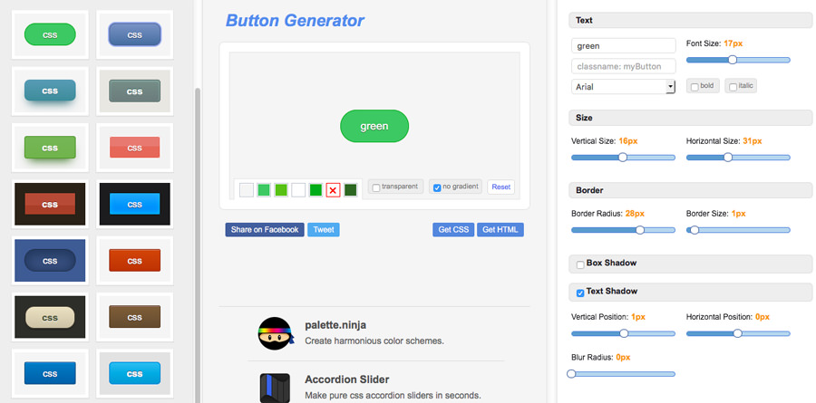 css3 button generator webapp