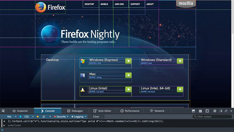 firefox nightly debug