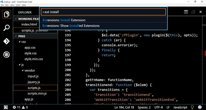 Install Exstension for VS Code