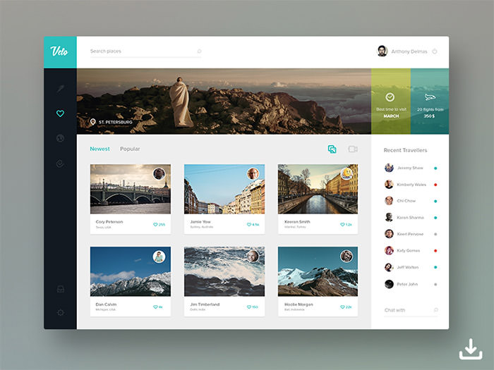 website dashboard design