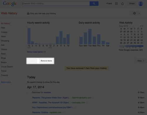 Google Web History Remove Item