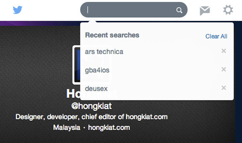 Twitter Search History