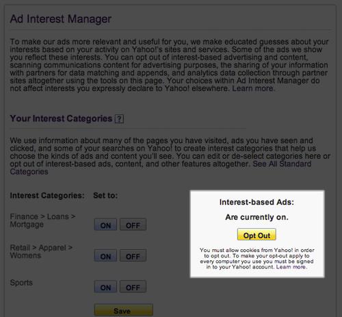 Yahoo Ad Interest