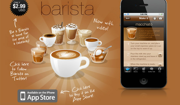 Barista iOS App website vector graphics