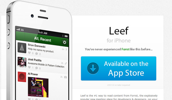 Forrst Leef App for iOS - minimalist website design