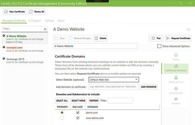 Certify UI in white and green color