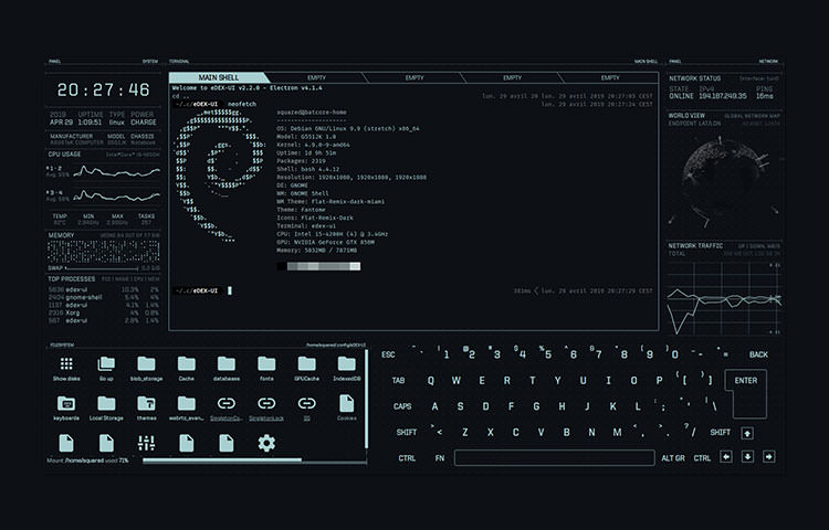 Dark interface with a clock, virutal folders and keyboard