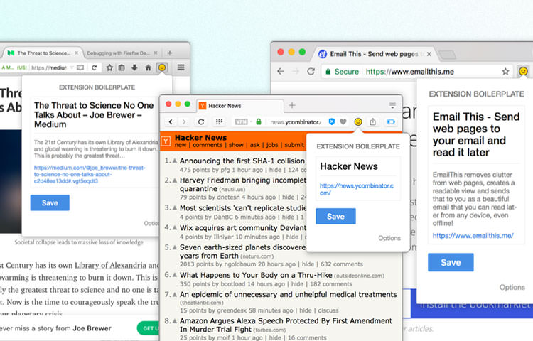 Example of browser extension UI on Chrome, Firefox, and Opera