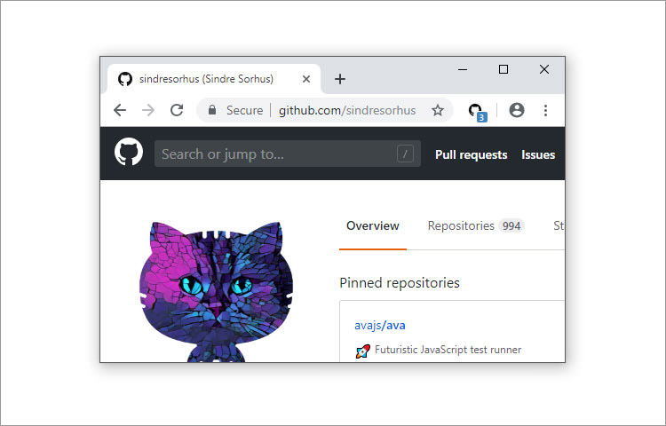 Chrome browser with the Notifier for Github extension showing 1 notification in blue color