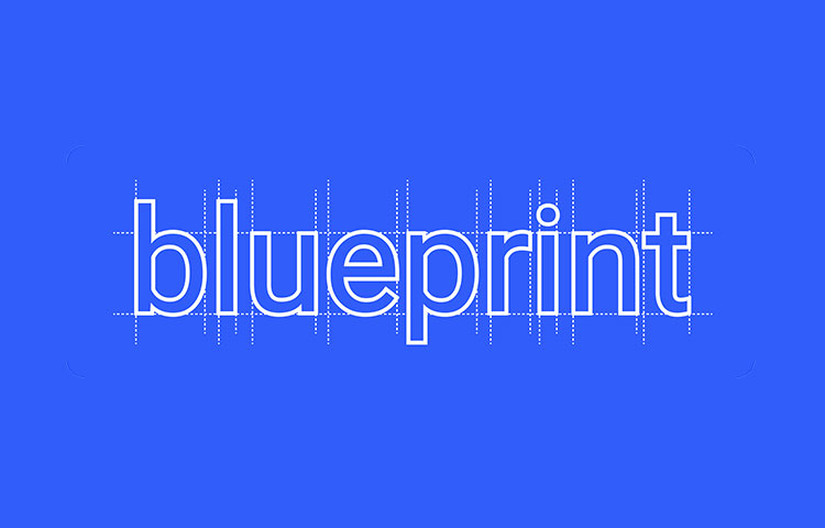 White Blueprint text on a blue background