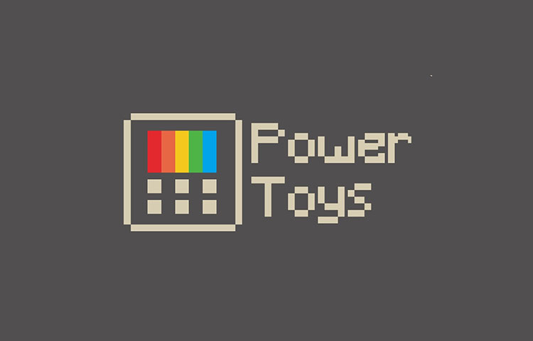 PowerToys logo on a gray background