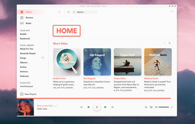 Custom Spotifify desktop application UI in white and orange color