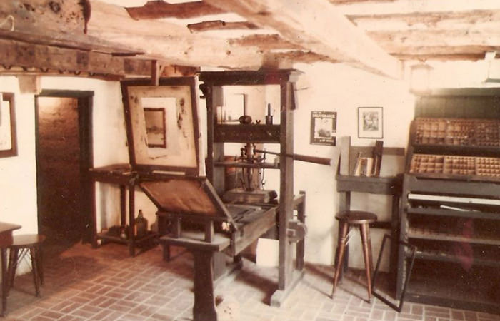 A Gutenberg press replica at the Featherbed Alley Printshop Museum, in Bermuda