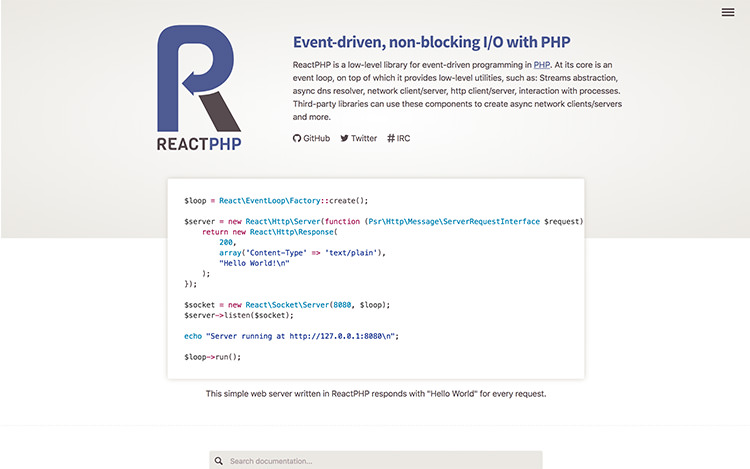 The ReactPHP.org homepage on purple and gray color.
