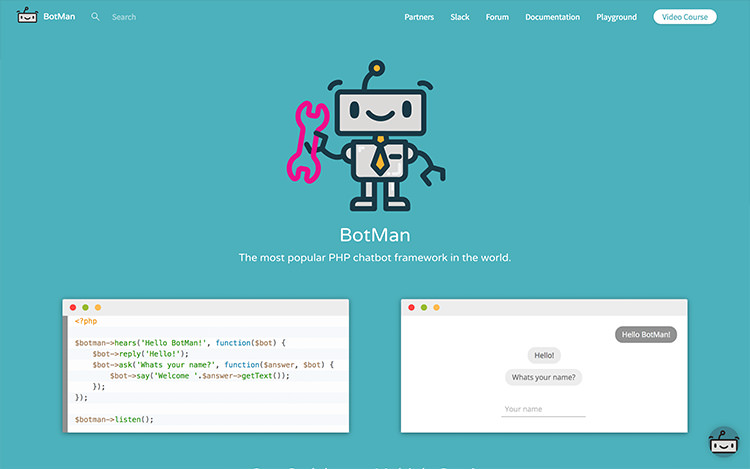 Botman homepage; a robot on turquoise background color.