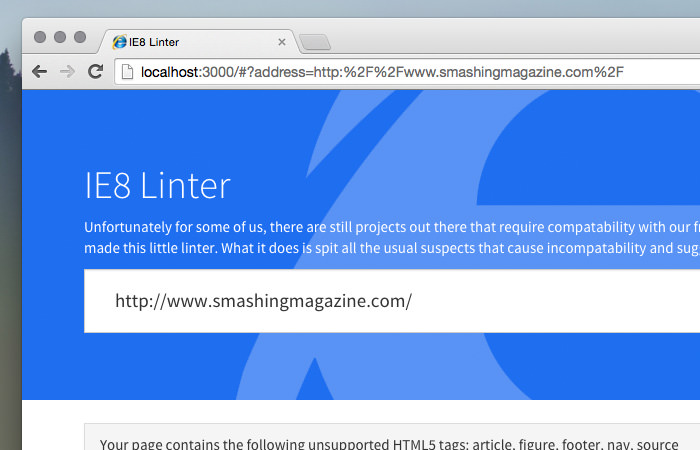 IE8 Linter error reports