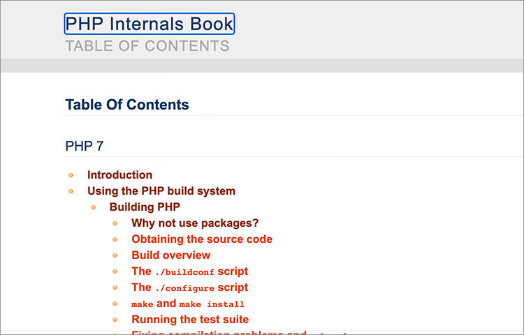 Table of Content of the PHP Internals