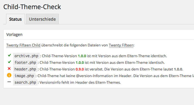 Child Theme Check UI in WordPress Admin.