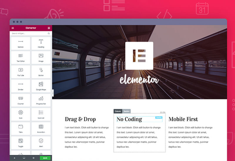 Elementor user interface in WordPress admin.