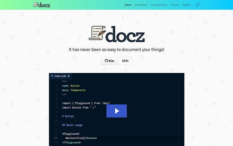 Docz Homepage with Video Player