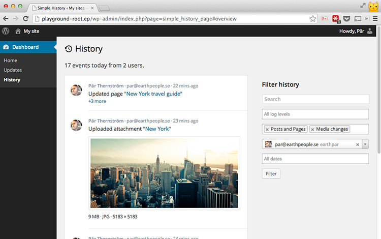 Sample History wordpress plugin