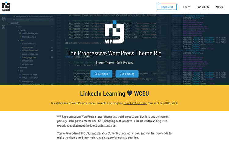 WPRig Homepage with code example and some description text.