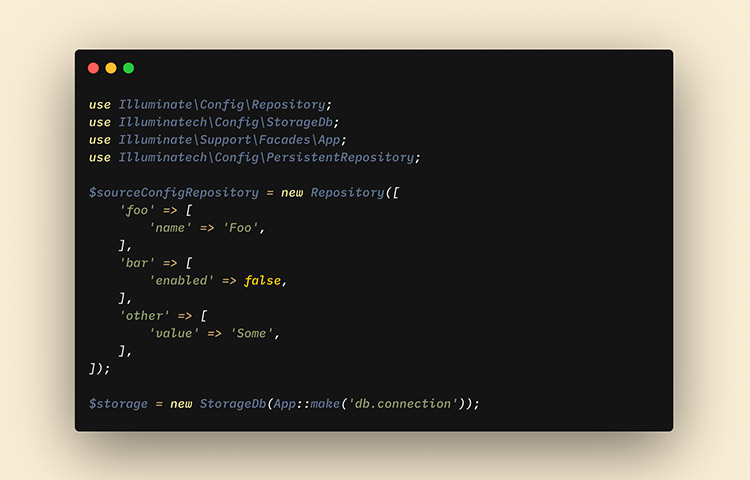 Code snippet of 'Laravel Config' in dark background