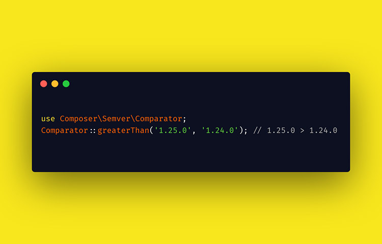 Code snippet of 'Composer Semver' in dark and yellow background