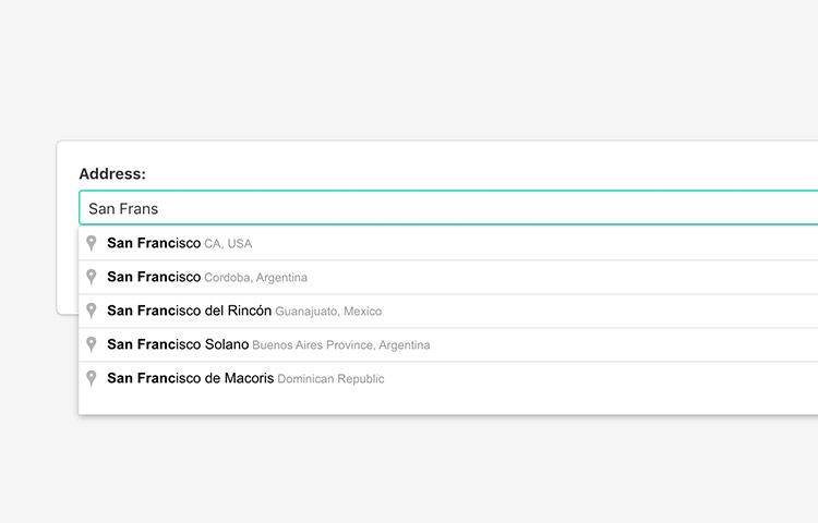 Input form showing suggestion of city address