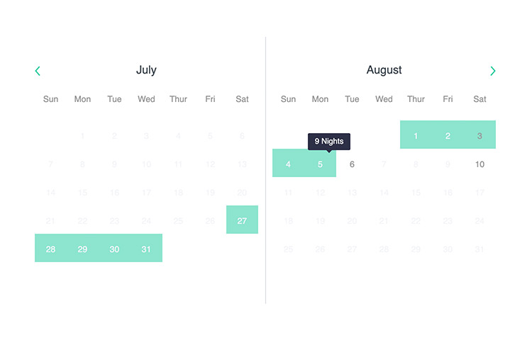 Two calendars interface to select date.