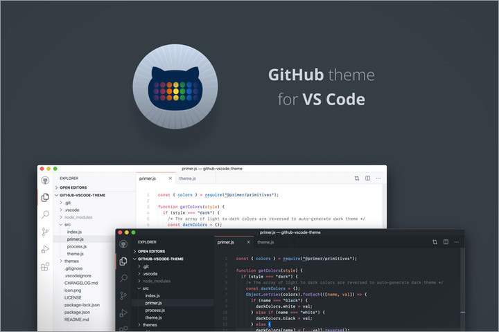Github VSCode dark and light theme preview