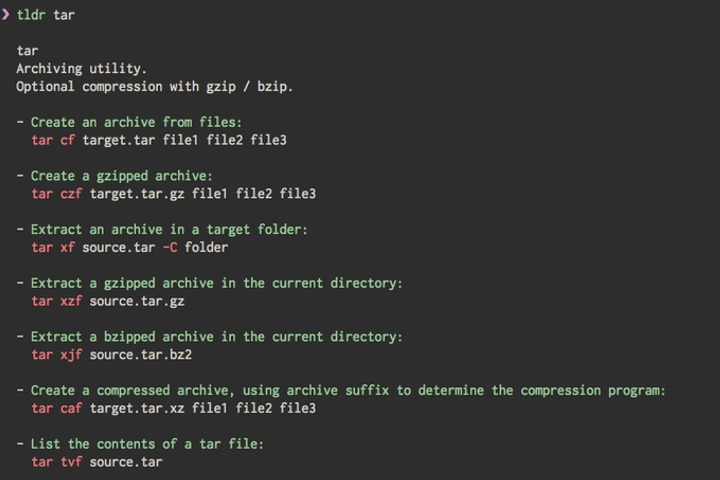 TLDR CLI in terminal