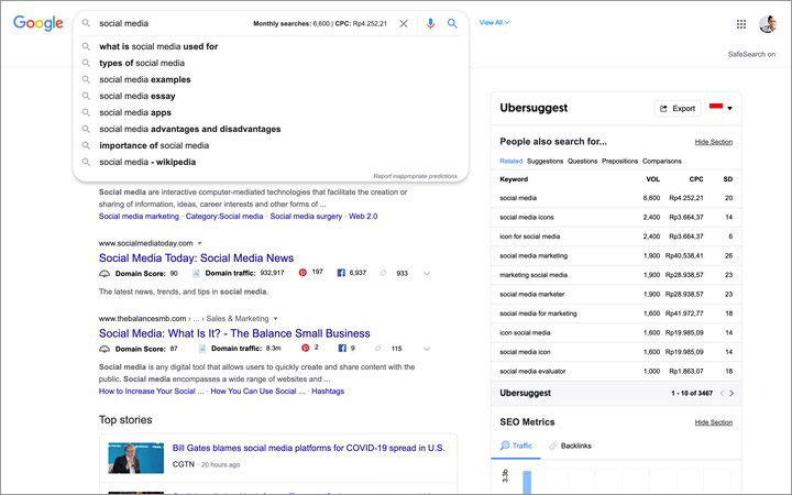 UberSuggest tool in action in the Google SERP