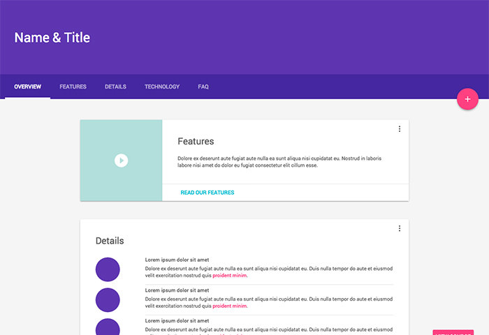 One of Material Design Lite Template