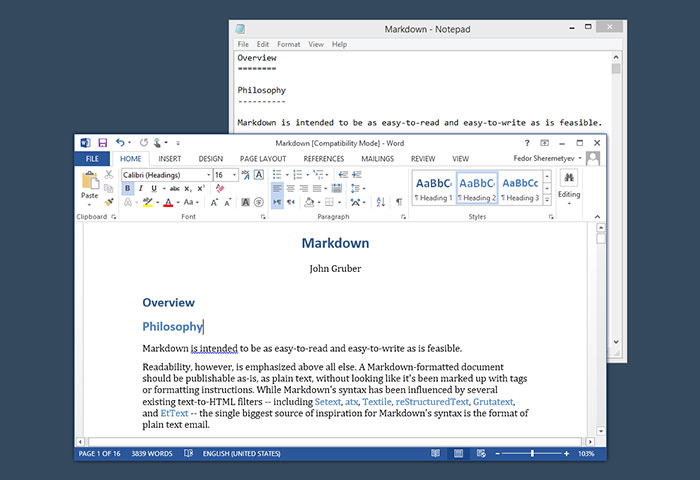 Transform Markdown in MS Word