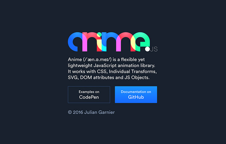 Anime.js homepage