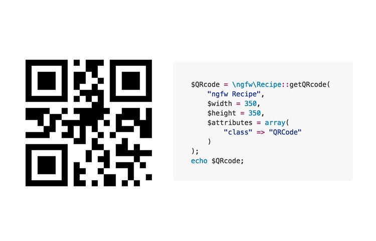 QR code with PHP Recipe code snippet