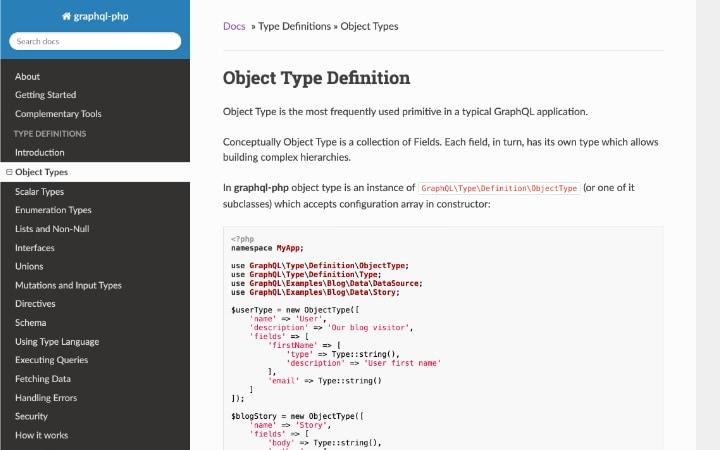 GraphQL PHP documentation