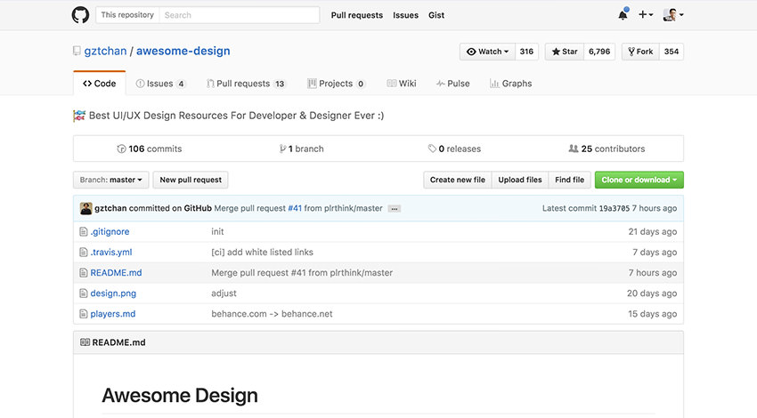 Github repository of Awesome Design