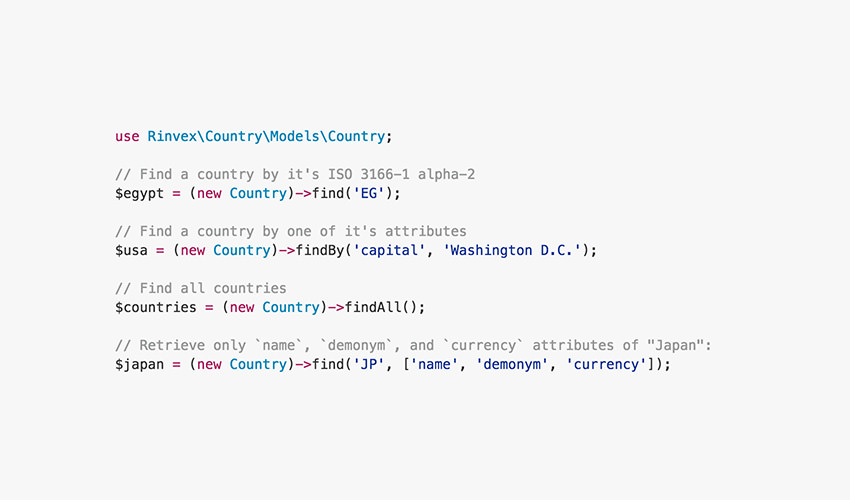 PHP Country code snippet example