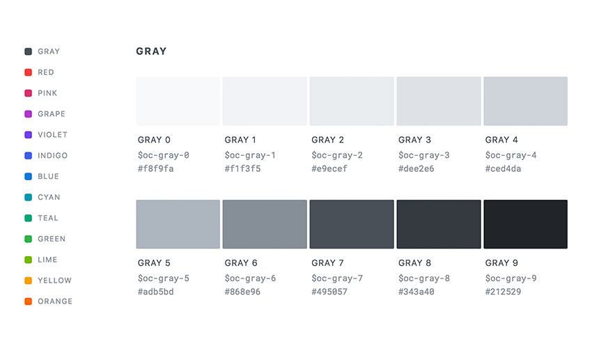 Open Color grayscale pallete