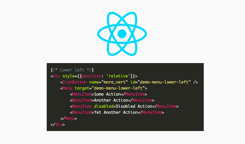 ReactJS logo and code snippet