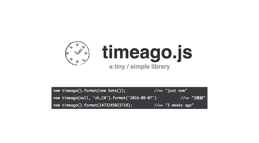 TimeAGoJS logo and the code snippet