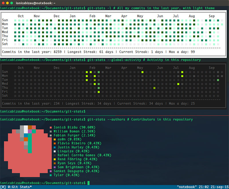 Git Stats Celendar and Statistic in Terminal
