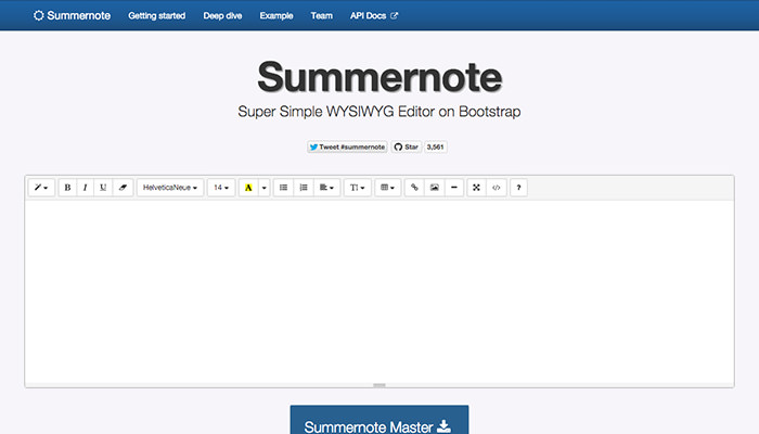 SummerNote Hompage and Interface