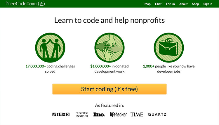 FreeCodeCamp homepage; green navigation with big orange button at the bottom.