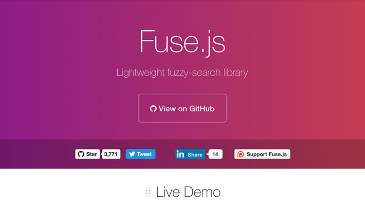 FuseJS homepage purple-magenta gradient color