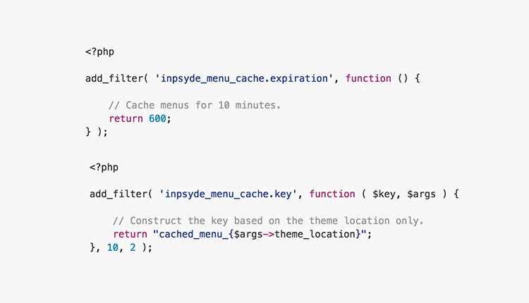 Menu Cache code snippet to set cache periode