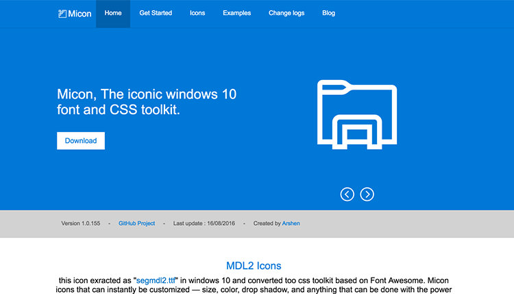 Micon homepage, blue color with and icon on the right.