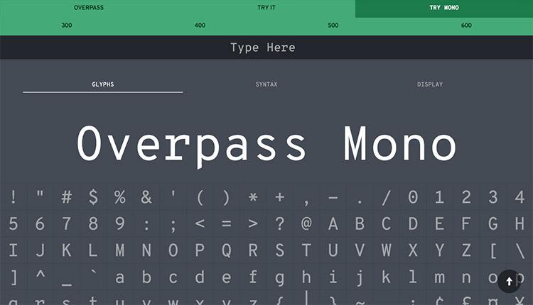 OverPass Monospace Glyphs